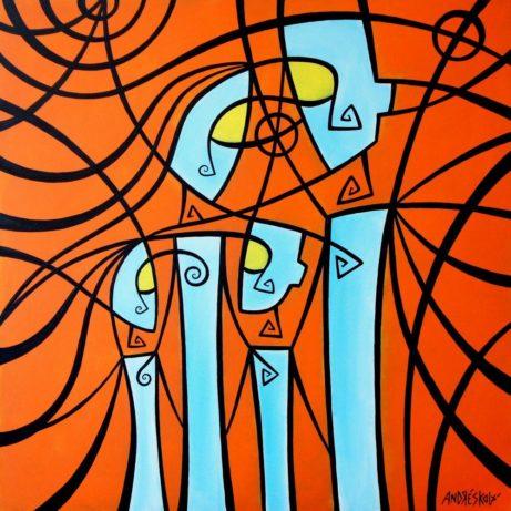Harmonie rodiny - originální malovaný obraz na plátně - Jana Andrésková